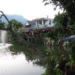 Lake, fountain, and restaurant area