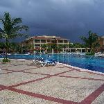 View Across Half of the Pool and Dark Sky