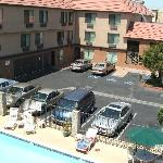 Motel court with swimming pool