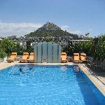 Amazing pool at the Grande Bretagne with view of Lycabettus Hill
