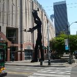 The Hammering Man in front of the SAM.