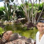 me next to the gorgoues water feature