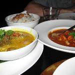 Before (panang beef on the left and butter chicken on the right)