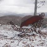 Sculpture made by owners' son, with mountain view