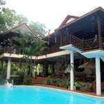 The Orchid House and the swimming pool