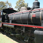 The kids love climbing over the old steam locomotive.
