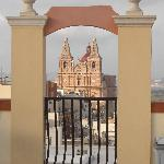 Mellieha church from the rooftop pool
