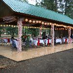 Pinewoods pavillion decorated for the wedding reception.
