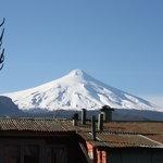 Volcan Villarica from rooftop patio.