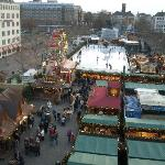 View from Hotel room over market (day)