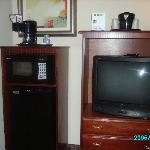 TV ref, microwave and high up coffeemaker!
