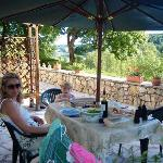 Lazy meal on sunny terrace