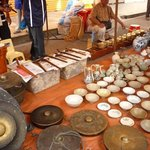some of the things sold at Gaya/Sunday market.  This guy is selling antiques plates, bowls and e