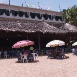 view of Hotel Cordelia from Playa Panteon, Puerto Angel