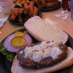 French Burger $10.75 - Blue Cheese $1 extra, 6oz. overcooked patty $3.50 extra