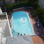 looking down onto the pool from the roof top