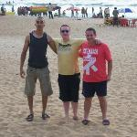 Us, the 3 amigos on the lively beach