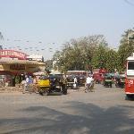 The street/junction immediately outside the hotel