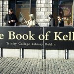 photography of the actual Book of Kells is not allowed so here is the banner near the entrance..