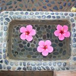 one of the footbaths - fresh water and fresh flowers, every day