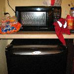 Microwave, Refrigerator (Coffee Maker not shown)