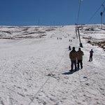 Going up ski lift