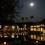 The pool area under a full moon