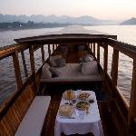 On the sunset cruise on the Mekong