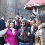 Tour guide and students