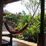 Hammock in the shade of the lower garden of Casa de Cafe