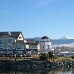 View from the park across the harbor channel from the hotel.  Note Mt. Baker in the background.