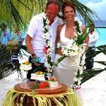 Wedding cake served at the beach