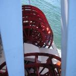 Looking down at both paddle wheels from the top deck of the Showboat Branson Belle