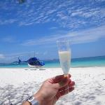 Champagne, a private helicopter, a picnick, and Whithaven beach after Scuba Diving the great bar