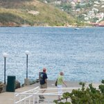 The dock for the ferry to Charlotte-Amalie. Thats Neena and Dad heading down.