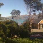 Akaroa Cottages, where we are staying for most of our trip. This is the view from our front wind