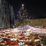 Cathedral and Cathedral Christmas Market from bedroom balcony