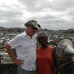 At a lookout point over the big market with our guide/protector Charity.