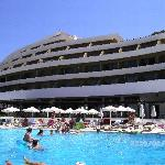 the pool and side of the hotel
