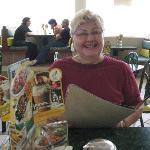 My mom checking ou the menu