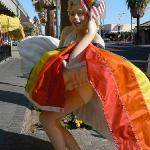 Marilyn in front of Pinnochio's Restaurant