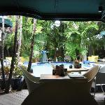 The pool seen from the bar
