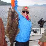 Her first halibut!  Nice one!