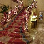 Stairwell in the lobby decorated for Christmas