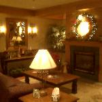 Cozy lobby decorated for the holidays...