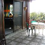 view of cabin's patio