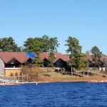 View of the lodge from our boat tour on the lake