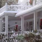 The inviting porch waiting for warmer weather.