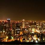 Osaka City Nightscape View from Floating Garden Observatory, Umeda Building