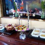 partial view of breakfast buffet for two